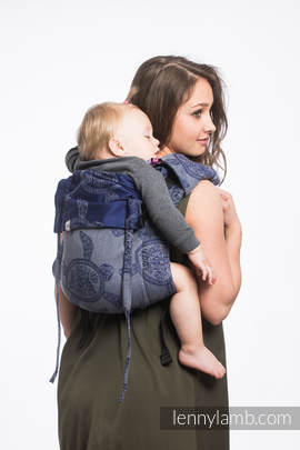 Lenny Buckle Onbuhimo, toddler size, jacquard weave (100% cotton) - Wrap conversion from SEA ADVENTURE - CALM BAY