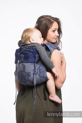 Nosidło Klamrowe ONBUHIMO z tkaniny żakardowej (100% bawełna), rozmiar Toddler - PRZYGODA MORSKA - CICHA ZATOKA