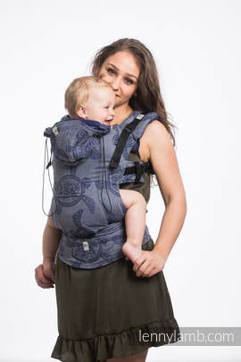 Ergonomic Carrier, Baby Size, jacquard weave 100% cotton - SEA ADVENTURE - CALM BAY - Second Generation