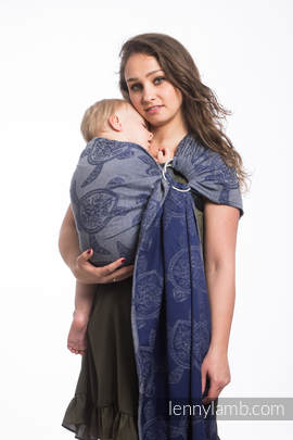 Ringsling, Jacquard Weave (100% cotton) - with gathered shoulder - SEA ADVENTURE - CALM BAY