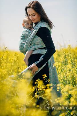Baby Wrap, Jacquard Weave - (76%cotton, 12%linen, 7%silk, 5%baby alpaca) - TWISTED LEAVES BREATH OF SUMMER - size XL