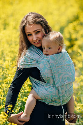 WRAP-TAI carrier Toddler with hood/ jacquard twill - (76%cotton, 12%linen, 7%silk, 5%baby alpaca) - TWISTED LEAVES BREATH OF SUMMER (grade B)