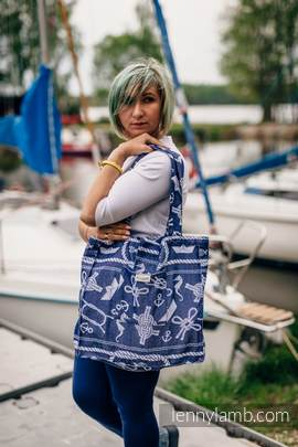 Shoulder bag made of wrap fabric (100% cotton) - SEA STORIES - standard size 37cmx37cm