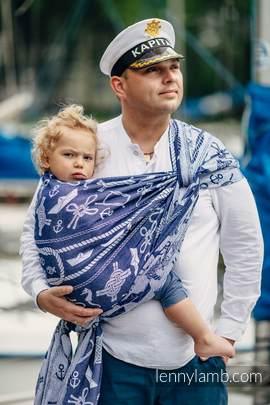 Baby Wrap, Jacquard Weave (100% cotton) - SEA STORIES - size L (grade B)