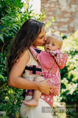Ergonomic Carrier, Toddler Size, jacquard weave - 62% cotton, 38% silk - wrap conversion from SYMPHONY SWEETNESS, Second Generation