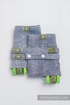 Drool Pads & Reach Straps Set, (100% cotton) - DENIM BLUE