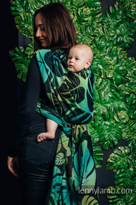 Baby Wrap, Jacquard Weave (100% cotton) - MONSTERA - size S