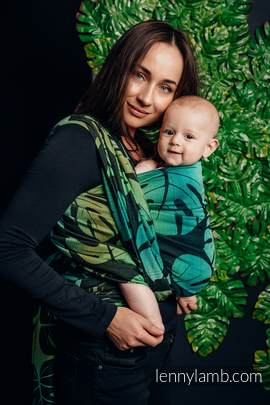 Baby Wrap, Jacquard Weave (100% cotton) - MONSTERA - size XL