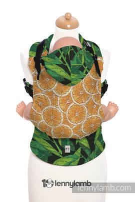Ergonomic Carrier, Baby Size, jacquard weave - 100% cotton - TUTTI FRUTTI - AUDACIOUS ORANGE - Second Generation