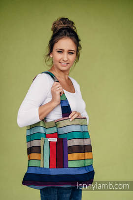 Shoulder bag made of wrap fabric (100% cotton) - CAROUSEL OF COLORS - standard size 37 cm x 37cm