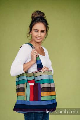 Torba na ramię z materiału chustowego, (100% bawełna) - KARUZELA BARW - uniwersalny rozmiar 37cm x 37cm