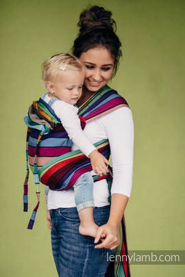 WRAP-TAI carrier Mini, broken-twill weave - 100% cotton - with hood - CAROUSEL OF COLORS