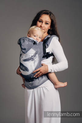 Ergonomic Carrier, Baby Size, jacquard weave 100% cotton - MOONLIGHT EAGLE  - Second Generation
