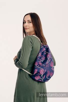Sackpack made of wrap fabric (100% cotton) - THE SECRET MAGNOLIA - standard size 32cmx43cm