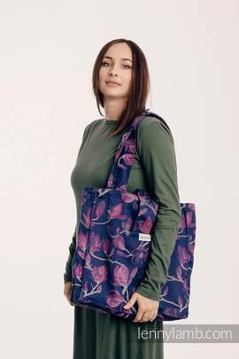 Torba na ramię z materiału chustowego, (100% bawełna) - TAJEMNICZA MAGNOLIA - uniwersalny rozmiar 37cmx37cm