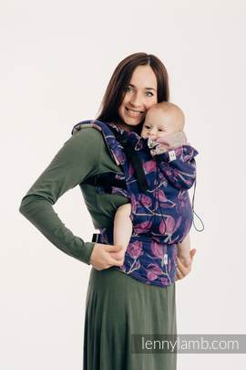 Ergonomic Carrier, Baby Size, jacquard weave 100% cotton - THE SECRET MAGNOLIA - Second Generation (grade B)