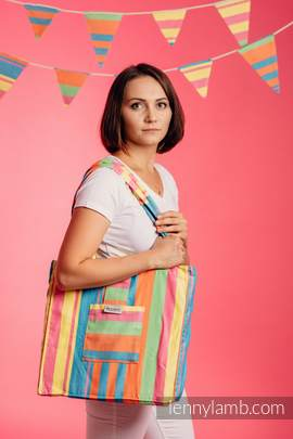Shoulder bag made of wrap fabric (60% cotton, 40% bamboo) - PINACOLADA - standard size 37cmx37cm