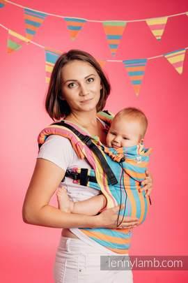 Nosidełko Ergonomiczne z tkaniny skośnokrzyżowej 60% bawełna 40% bambus , Baby Size, PINACOLADA