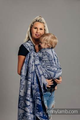 Baby Wrap, Jacquard Weave (65% cotton, 35% linen) - TIME OF NIGHT (with skull) - size XS