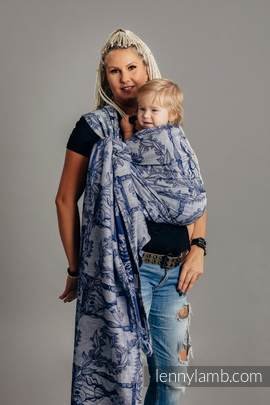 Baby Wrap, Jacquard Weave (65% cotton, 35% linen) - TIME OF NIGHT (with skull) - size L (grade B)