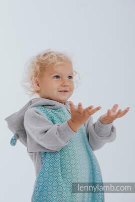 Babyanzug - Größe 74 - Graue Melange mit Big Love - Ice Mint