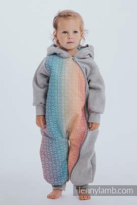 Babyanzug - Größe 80 - Graue Melange mit Big Love - Rainbow