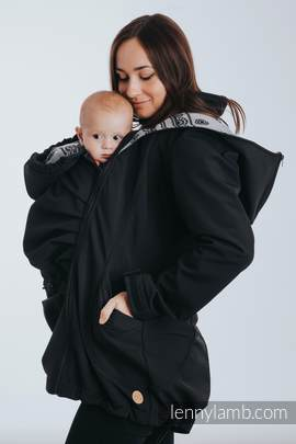Babywearing Coat - Softshell - Black with Glamorous Lace Revers - size 5XL