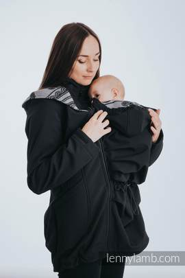 Babywearing Coat - Softshell - Black with Glamorous Lace Revers - size 4XL