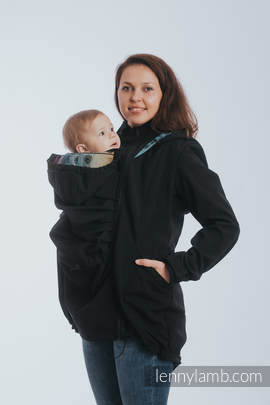 Babywearing Coat - Softshell - Black with Rainbow Lace Dark - size 5XL