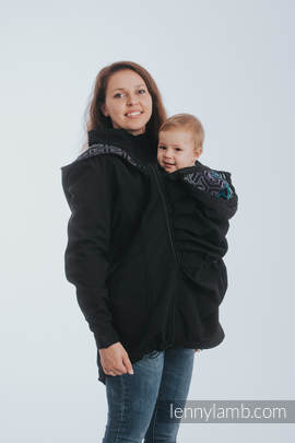 Babywearing Coat - Softshell - Black with Trinity Cosmos - size XS