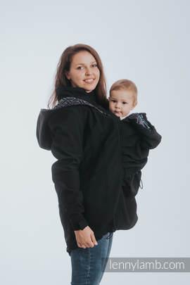 Babywearing Coat - Softshell - Black with Trinity Cosmos - size S