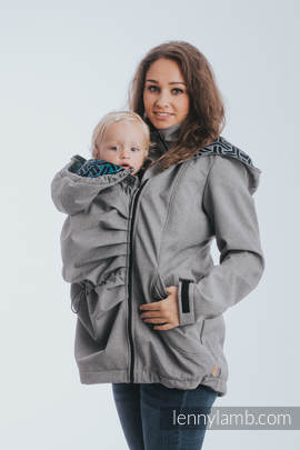 Babywearing Coat - Softshell - Gray Melange with Trinity Cosmos - size 4XL