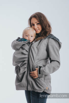 Babywearing Coat - Softshell - Gray Melange with Trinity Cosmos - size 3XL
