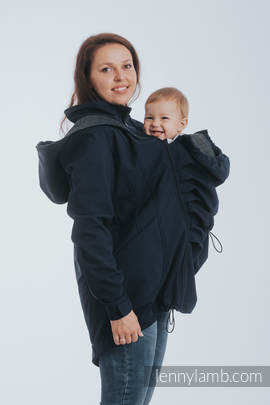 Babywearing Coat - Softshell - Navy Blue with Little Pearl Chameleon - size XXL
