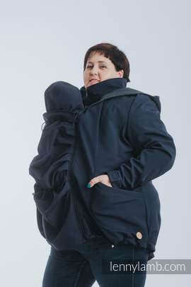 Babywearing Coat - Softshell - Navy Blue with Little Pearl Chameleon - size 3XL