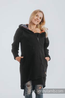 Asymmetrical Hoodie - Black with Symphony Rainbow Dark - size L
