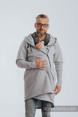 Asymmetrical Hoodie - Gray Melange with Pearl - size 4XL