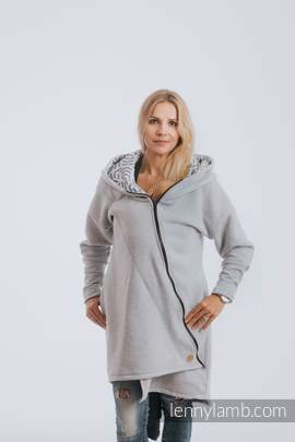 Asymmetrical Hoodie - Gray Melange with Pearl - size 6XL