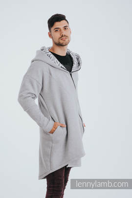 Asymmetrical Hoodie - Gray Melange with Pearl - size 3XL