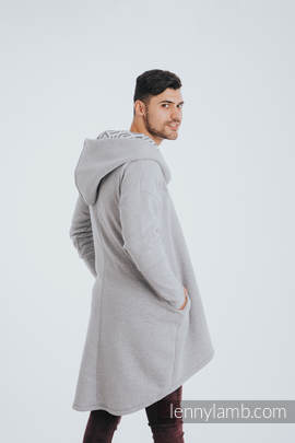 Asymmetrical Hoodie - Gray Melange with Pearl - size 5XL
