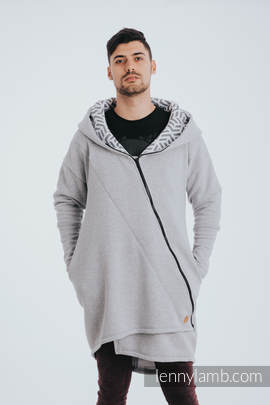 Asymmetrical Hoodie - Gray Melange with Pearl - size XL