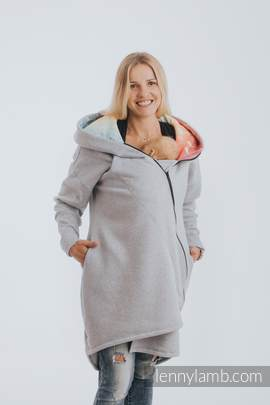 Asymmetrical Hoodie - Gray Melange with Symphony Rainbow Light - size 4XL