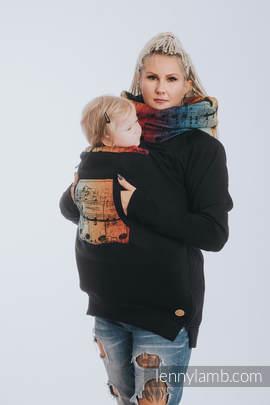 Babywearing Sweatshirt 3.0 - Black with Symphony Rainbow Dark - size L