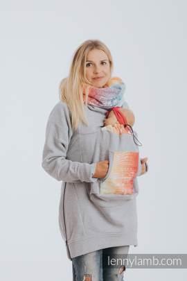 Babywearing Sweatshirt 3.0 - Gray Melange with Symphony Rainbow Light - size 5XL