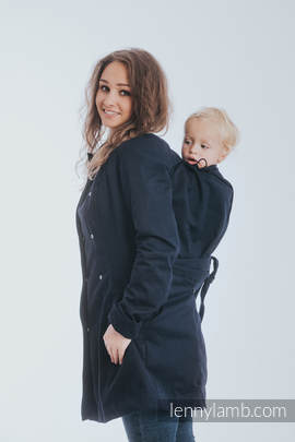 Babywearing trench coat - size XXL - Navy Blue