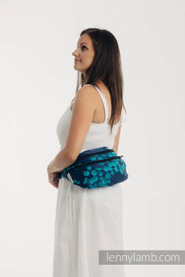 Waist Bag made of woven fabric, size large (100% cotton) - FINESSE - TURQUOISE CHARM