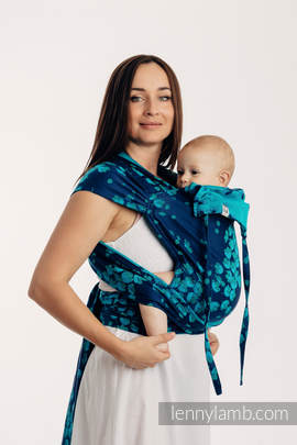 WRAP-TAI carrier Mini with hood/ jacquard twill / 100% cotton - FINESSE - TURQUOISE CHARM