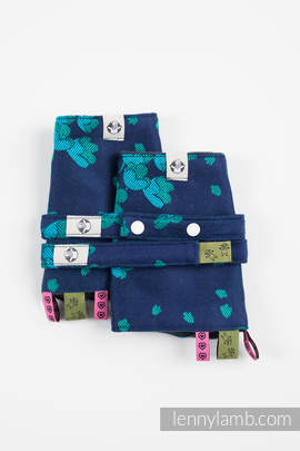 Drool Pads & Reach Straps Set, (100% cotton) - FINESSE - TURQUOISE CHARM