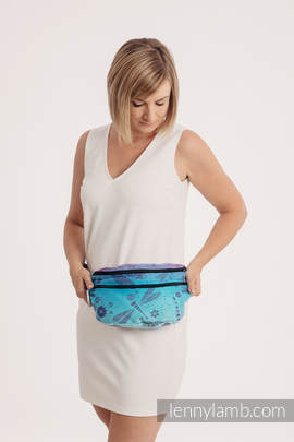 Waist Bag made of woven fabric, size large (100% cotton) - DRAGONFLY- FAREWELL TO THE SUN