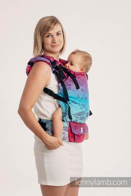 LennyUp Carrier, Standard Size, jacquard weave 100% cotton - wrap conversion from DRAGONFLY- FAREWELL TO THE SUN